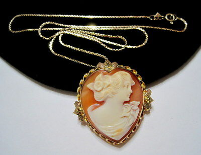ART DECO 10K Gold HEART SHAPED Genuine Shell LOVER's CAMEO PENDANT NECKLACE