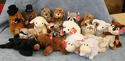 W-F-L TY Beanie Babies Forest and Meadow animals Bear Beaver Raccoon Squirrel