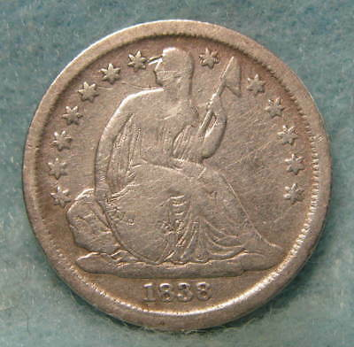 1838 Large Stars Seated Liberty Silver Dime * Circulated US Coin *