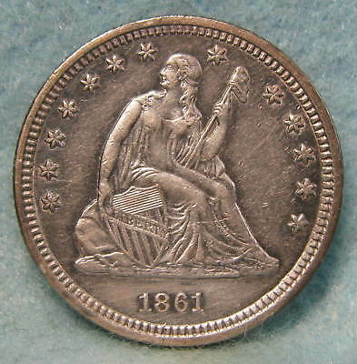 1861 Civil War Era Seated Liberty Silver Quarter AU/Uncirculated * US Coin *