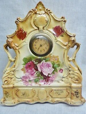 lovely victorian pottery mantel clock roses yellow case ceramic 1890's working