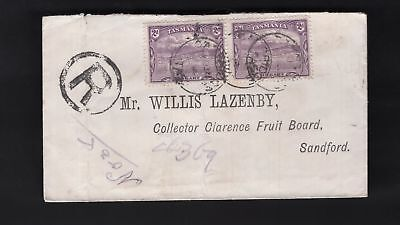 Tasmania CAMBRIDGE 1904 CDS x3 on 2d Pictorial pair on Registered cover