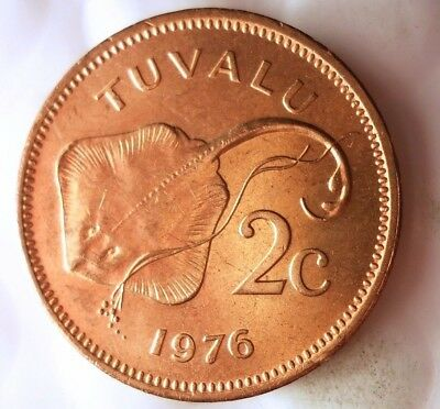1976 TUVALU 2 CENTS - AU/UNC - EXOTIC - From Mint Roll - BIN #EEE