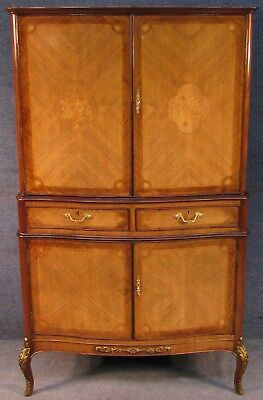 1950s French Marquetry Inlaid Kingwood & Walnut 4 Door Drinks / Cocktail Cabinet