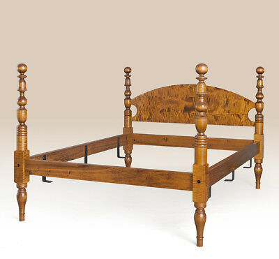 Full Size Bed Traditional Style Tiger Maple Wood Bedroom Furniture American Made
