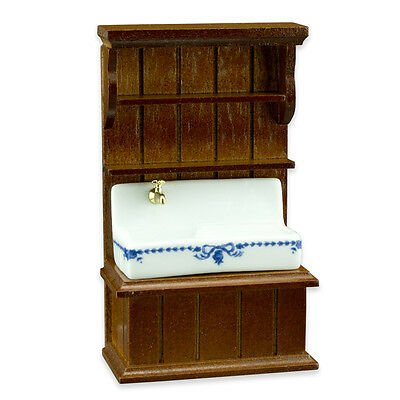 Reutter Porzellan Kitchen Sink Blue/Blue Sink Cabinet 1:24 Dollhouse