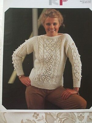 """Knitting Pattern GIRL'S & LADY'S ARAN SWEATER 30-42""""  76-107cm Cables,Bobbles"""