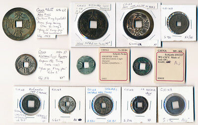35 EARLY CHINA COINS MOST with SCHJOTH #s (RARITIES HERE, MUST SEE) NO RESERVE