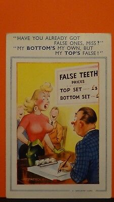 Bamforth Comic Postcard: Denist, Dentistry, False Teeth & Big Boobs Humour