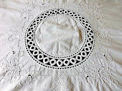 "Vintage Hand Embroidered White Work Table Cloth   34"" By 32"""