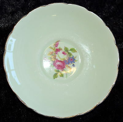 Replacement FOLEY SAUCER Pretty Green with Floral Centre & Gold Trim