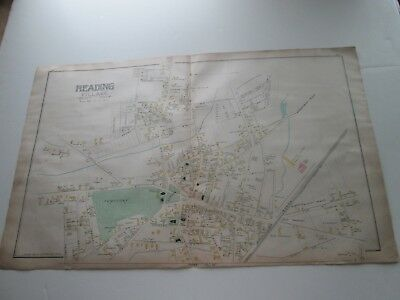 (1) One 1889 Antique Map----Massachusetts, Reading Village, East Side, G. Walker