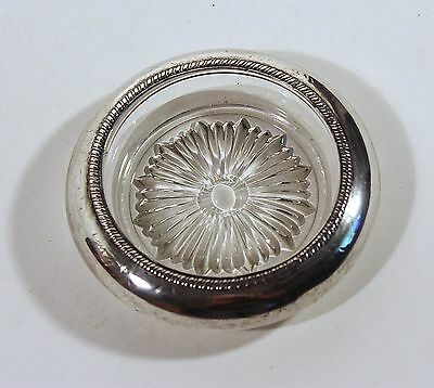 "VINTAGE BEADED STERLING SILVER RIM GLASS WINE COASTER by SABEN 4"" Sunburst #2"