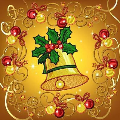CHRISTMAS BLOCKS NO 3   10 MACHINE EMBROIDERY DESIGNS CD 4 sizes