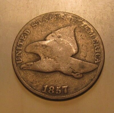 1857 Flying Eagle Cent Penny - Good Condition - 8SU