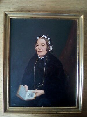 Unusual portrait of a seated victorian lady with a book ANTIQUE OIL PAINTING