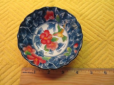 "Andrea by Sadek Decorative 4-1/4"" Bowl Humming  Bird & Flowers Excell. Condition"