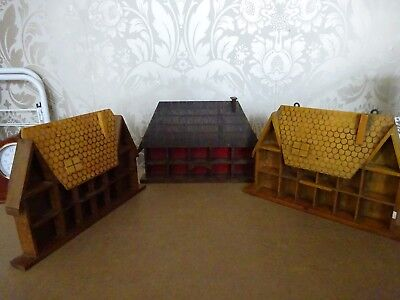 Vintage retro Wooden Collectors 3 x Cottage House Thimble Display Cases