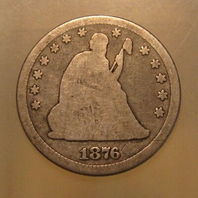 1876 S Seated Liberty Quarter - Circulated Condition - 58SU