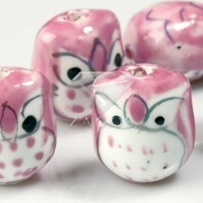 10pcs Wholesale Handmade Porcelain Owl Spacer Loose Beads 17x15mm Pink PB0006