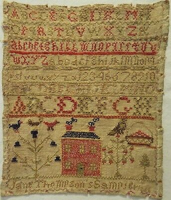 Small Mid 19Th Century Red House & Alphabet Sampler By Jane Thompson - 1865