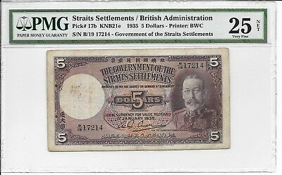 Straits Settlements / British Administration - $5, 1935. PMG 25Net.