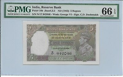 India, Reserve Bank - 5 Rupees, nd (1943). PMG 66EPQ.
