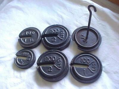 5 Vintage Cast Iron Hanging Platform Scale Weights With Hanger Fairbanks Morse