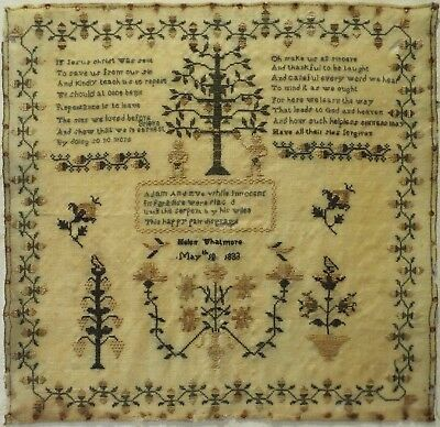 Early 19Th Century Adam & Eve, Motif & Verse Sampler By Helen Whatmore - 1833