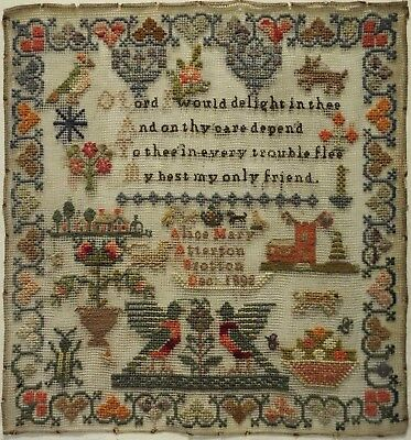Late 19Th Century Cottage, Church & Motif Sampler By Alice Mary Atterton - 1892