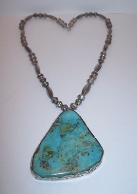 Navajo Sterling Silver Bead Necklace w Large Silver & Turquoise Pendant