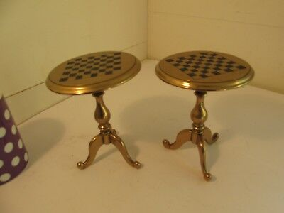 pair of small brass tables c1900