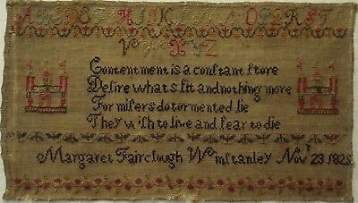 Early 19Th Century Verse Sampler By Margaret Fairclough Winstanley  - 1825