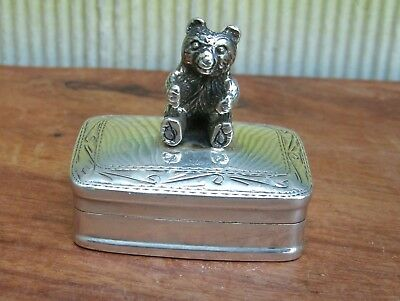 1956 London Sterling Silver Teddy Bear Chased Pill Box
