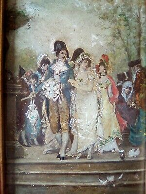 Miniatutre WEDDING SCENE on panel 18th/19thc maybe french ANTIQUE OIL PAINTING.