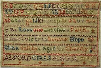 Small Late 19Th Century School Alphabet Sampler By Eliza Saltby - 1875