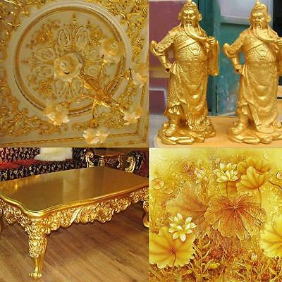 100 Sheets Gold Leaf Leaves Foil Paper Gilding Wrapping Art Craft 15x15cm New LA