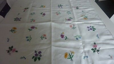 Vintage Hand Embroidered Linen Table Cloth - Floral Sprigs