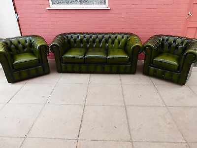 A Green Leather Chesterfield Three Piece Suite ** Delivery Available**