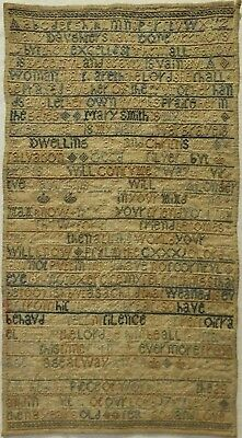 Mid 18Th Century Biblical Quotation Sampler By Mary Smith Aged 8 - 1751