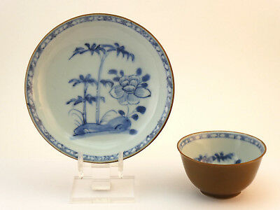 c1752, CHINESE NANKING CARGO BATAVIAN BLUE & WHITE TEA BOWL & SAUCER CHRISTIES