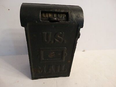 Antique Cast iron U.S.Mail still bank green great condition makers mark