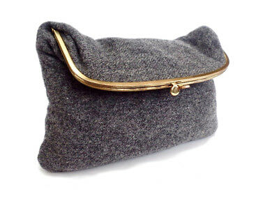Vintage Gray Wool Fold Over Kiss Lock Clutch Bag Purse by Ingbar