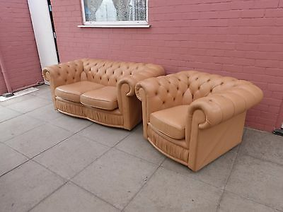 A Magnolia/Cream Leather Chesterfield Two Piece Suite DELIVERY AVAILABLE