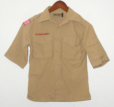 BOY SCOUTS Of America UNIFORM Shirt KHAKI NYLON Scout YOUTH Boys SMALL Sm