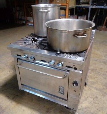 Montague Commercial 4 Burner Gas Stove Range Oven With 2 Large Stock Pots