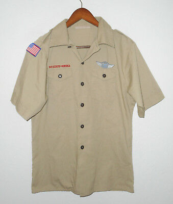BOY SCOUTS Of America UNIFORM Shirt KHAKI Scout YOUTH Boys Size LARGE Lg