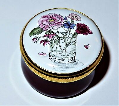 Crummles English Enamel Box - Flowers In A Glass Of Water - Vase - Still Life