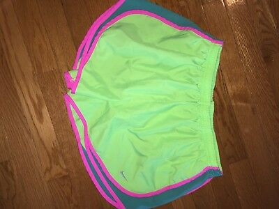 Nike Dri Fit Tempo Womens Running Athletic Shorts XL green pink