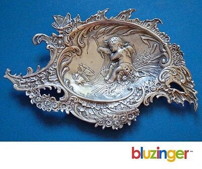 Antique Art Nouveau 930 Sterling Silver Tray Cherub Angel w/ Butterflies c.1895